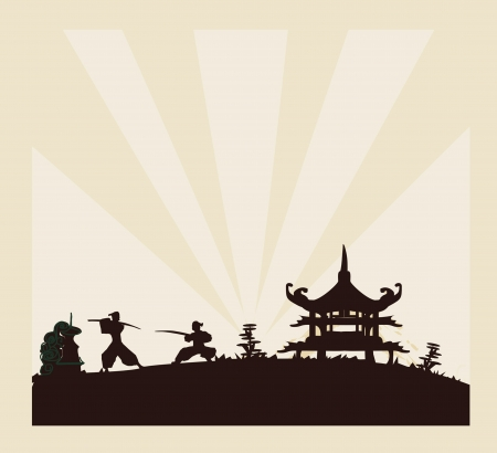 Samurai silhouette in Asian Landscape              Vector