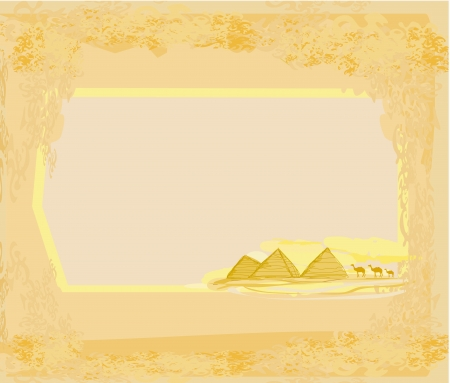 old paper with pyramids giza  Stock Vector - 16719235