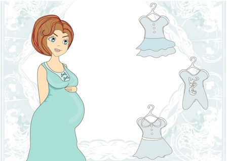 mama:  Beautiful pregnant woman on shopping for her new baby