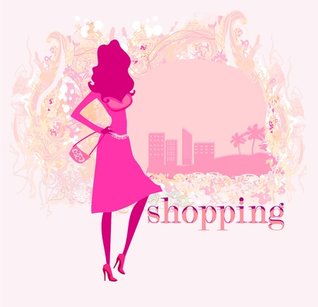 shoptalk:  abstract fashion girl Shopping - illustration