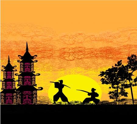 samoerai: Silhouet afbeelding van twee ninjas in duel Stock Illustratie