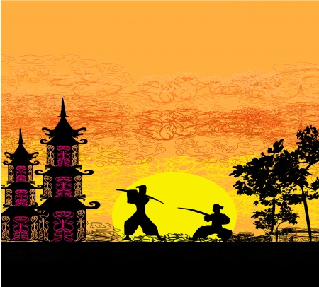 chinese pagoda:  Silhouette illustration of two ninjas in duel  Illustration