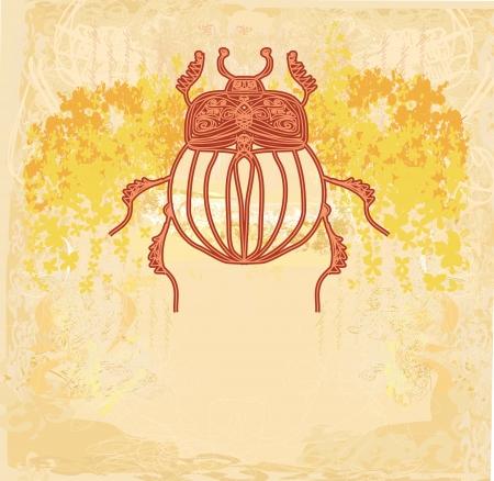 scarabeo: Scarab sfondo d'oro Vettoriali
