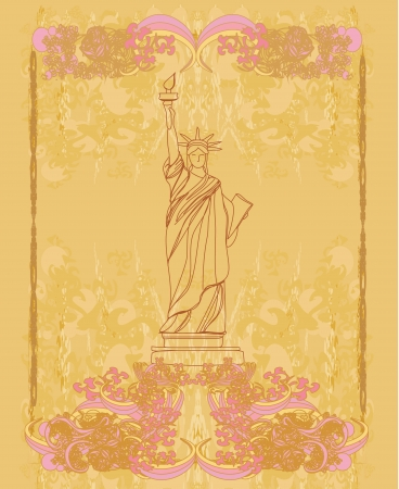 Statue Of Liberty - vintage paper Stock Vector - 16812963