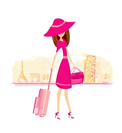 beautiful brunette:  beautiful women Shopping in France and Italy  Illustration