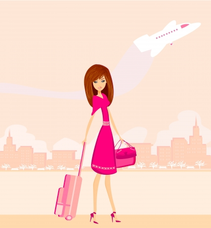 beauty travel girl with baggage  Stock Vector - 16812974