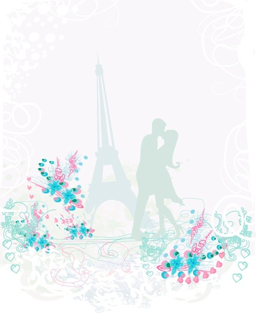 Romantic couple in Paris kissing near the Eiffel Tower Stock Vector - 16812976