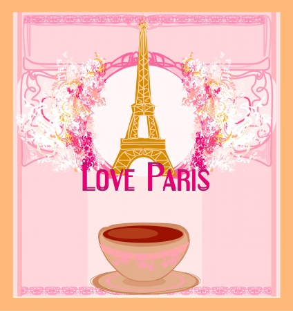 love Paris with tower Eiffel and coffee over pink background Vector