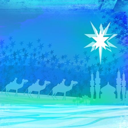 Classic three magic scene and shining star of Bethlehem  photo