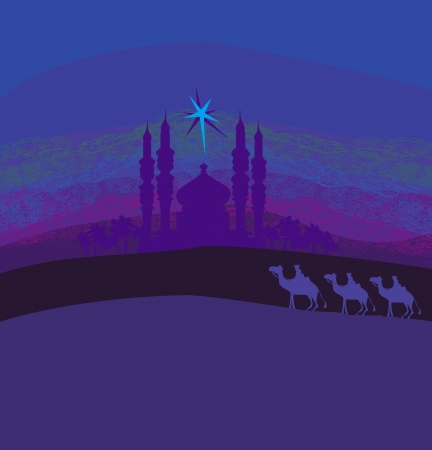 Classic three magic scene and shining star of Bethlehem, illustration  Vector