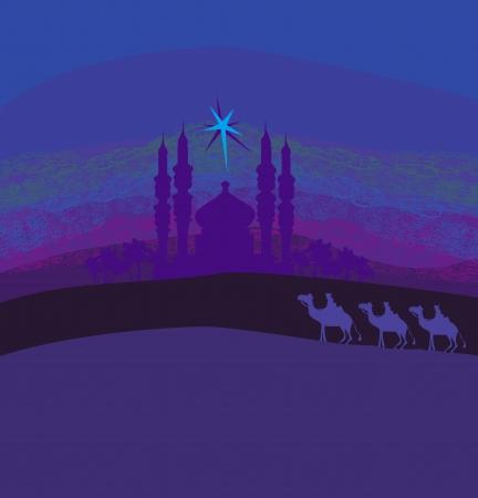 Classic three magic scene and shining star of Bethlehem, illustration Stock Vector - 16871938
