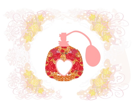 Beautiful perfume bottle, made of the flower pattern.  Vector