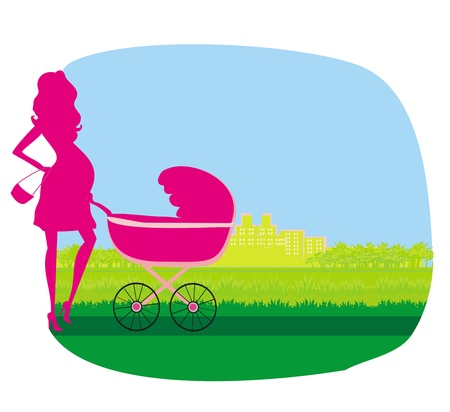 pregnant woman pushing a stroller  Vector