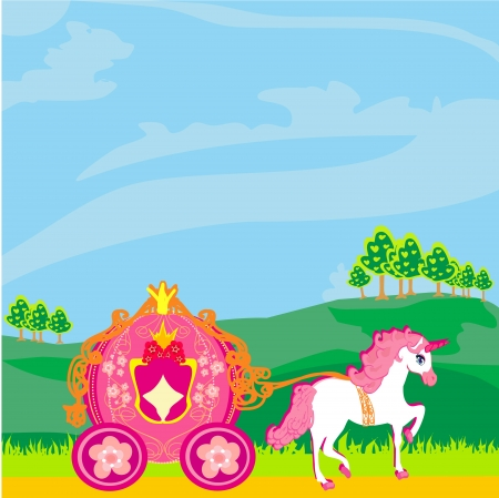Fine horsy harnessed in the carriage of the princess. Stock Vector - 16913361