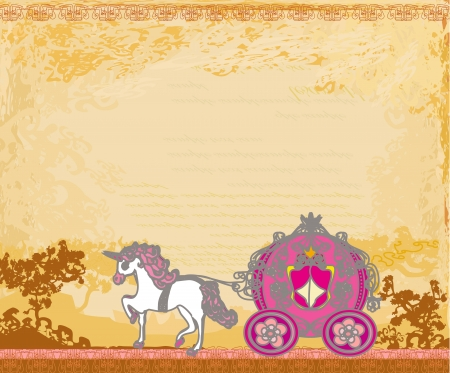 royal invitation:  Royal carriage with horse on the grunge background  Illustration