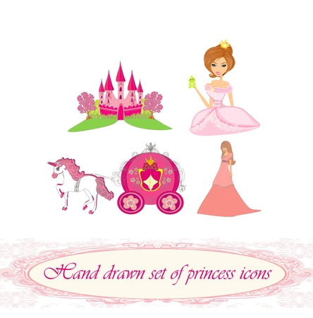 Hand drawn set of princess icons  Vector