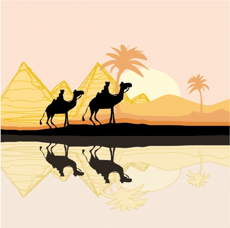 Bedouin camel caravan in wild africa landscape illustration Stock Vector - 16913417