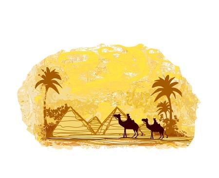 bedouin:  Bedouin camel caravan in wild africa landscape illustration