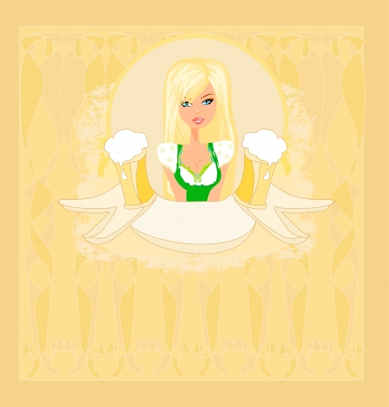 Oktoberfest waitress card Stock Vector - 16913438