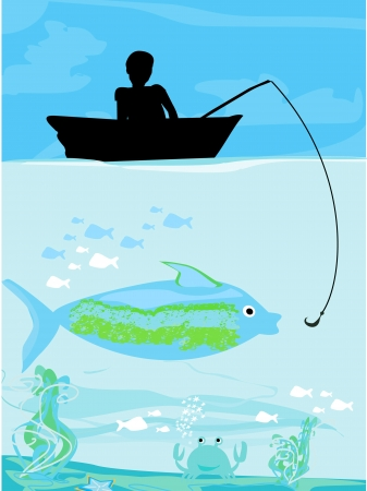 Fisherman catching the fish Stock Vector - 16939423