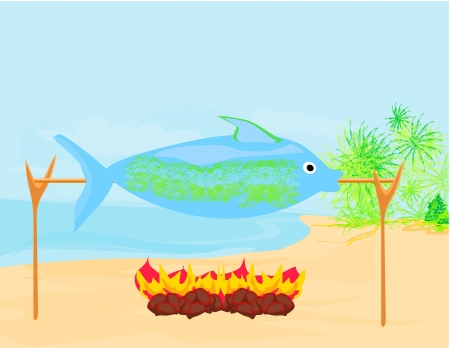 fish in the spit  Vector