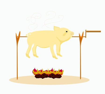 An image of a roasted pig.  Stock Vector - 16939419