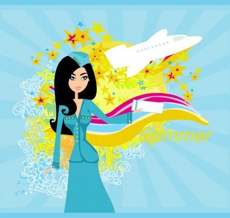air hostess:  Beautiful stewardess with ticket  Illustration