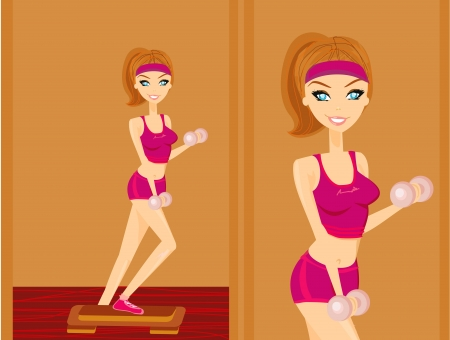 beautiful girl exercising in a gym  Vector