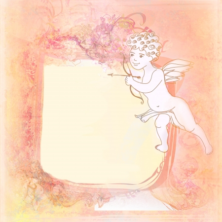 happy valentines day - vintage card with cupid Stock Photo - 16956705
