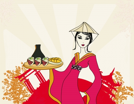 beautiful Asian girl enjoy sushi - menu template Stock Vector - 16956706
