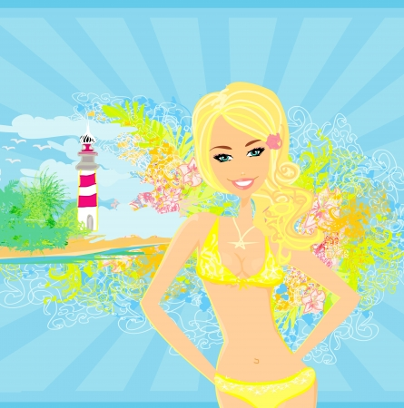 Grunge banner with palm trees and girl in bikini. Illustration