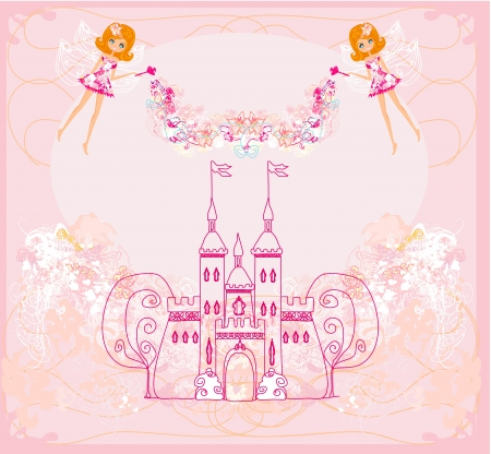 fairy flying above castle Stock Vector - 16977000