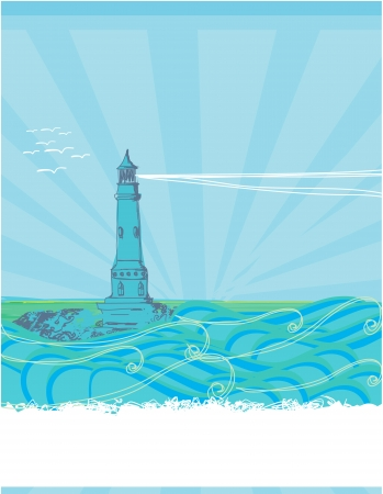 lighthouse seen from a tiny beach - blue Poster  Stock Vector - 16976994