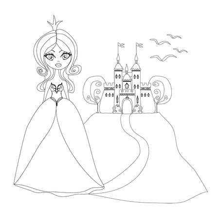 Beautiful young princess in front of her castle - doodle illustration  Stock Vector - 16976988