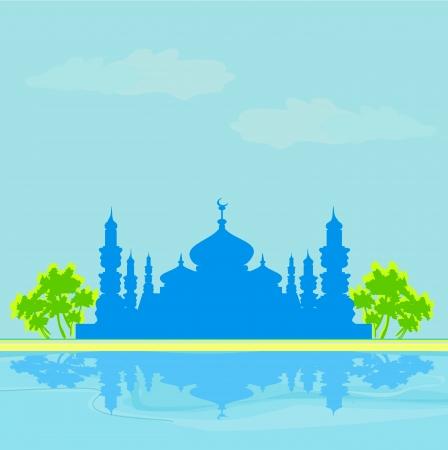 Ramadan background - mosque silhouette illustration card