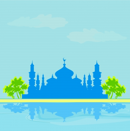 Ramadan background - mosque silhouette illustration card  Stock Vector - 16976989
