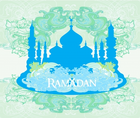 Ramadan background - mosque silhouette illustration card  Stock Vector - 16977007
