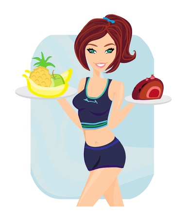 holing:  Young woman with fruits and cake  Illustration
