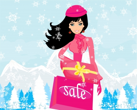 fashion shopping girl with shopping bags and gift box Stock Vector - 17030633
