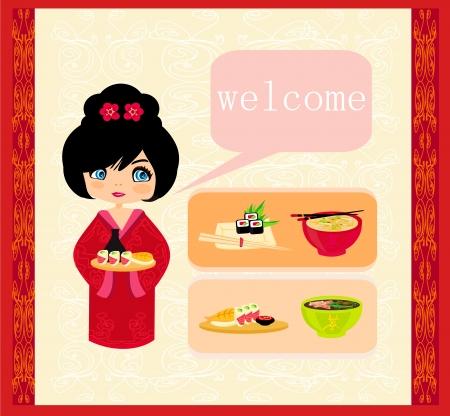 sweet girl enjoy sushi - foods set Stock Vector - 17030628