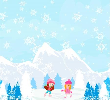 Girls on skates Stock Vector - 17030632