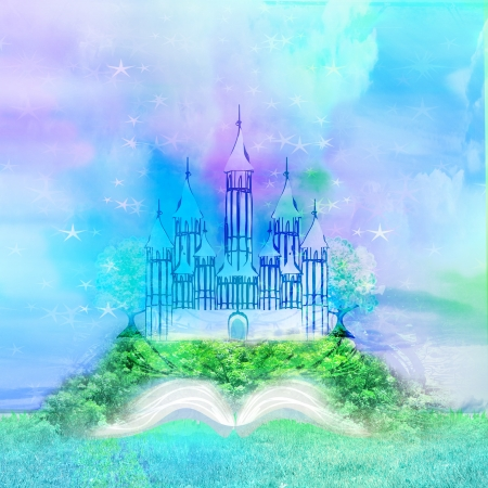 Magic world of tales, fairy castle appearing from the book  Stock Photo