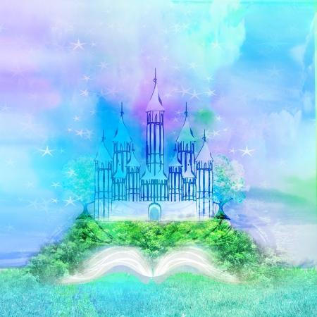 castello medievale: Magico mondo delle favole, fata castello che appare dal libro