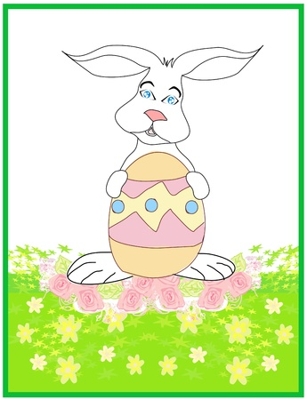 Illustration of happy Easter bunny carrying egg Stock Vector - 17040730