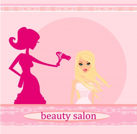 stylist drying woman hair in hairdresser salon Stock Vector - 17040751