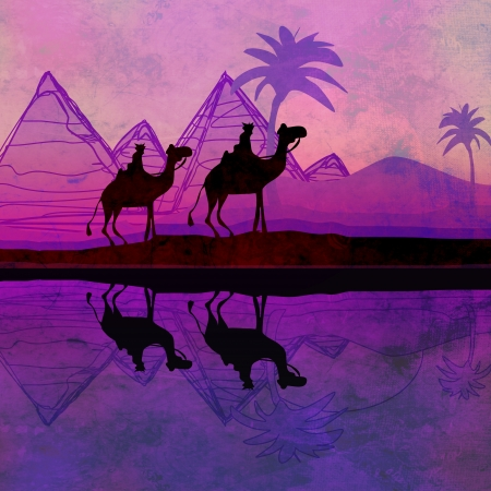 Camel train silhouetted against colorful sky crossing the Sahara Desert Stock Photo - 17058668