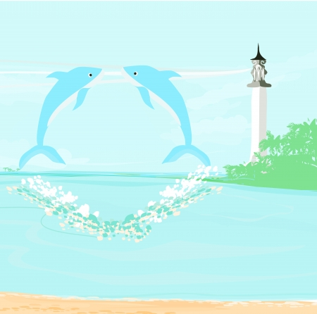 lighthouse seen from a tiny beach and dolphins Stock Vector - 17058663