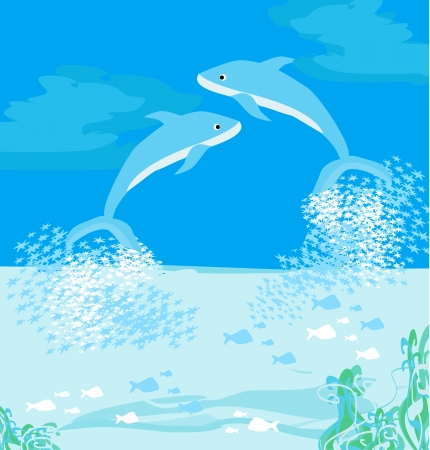 two dolphins jumping out of water  Stock Vector - 17058666