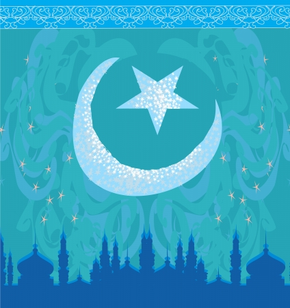 artistic pattern background with moon and mosque Stock Vector - 17058669
