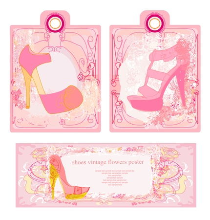 Price Tags With shoes vintage set  Stock Vector - 17058388
